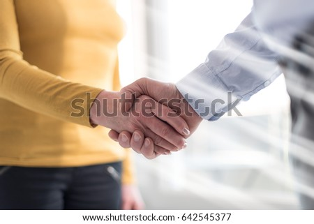 Businesswoman and businessman shaking hands in office, light rays effect