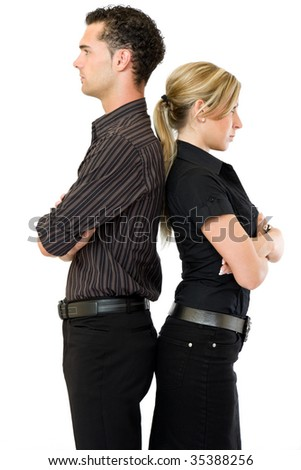 businesswoman and businessman standing back to back
