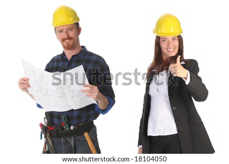 businesswoman and construction worker with architectural plans - stock photo