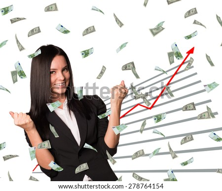 Businesswoman and graphical chart under money rain on isolated white background