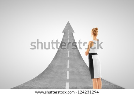 businesswoman and road concept  on white background - stock photo
