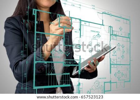 home business layout businesswoman architect interior designer working modern stock