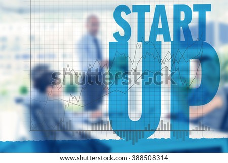 Businesswoman asking question during meeting against graph - stock photo