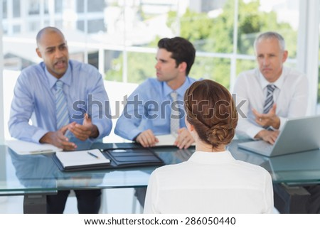 Businesswoman at work interview in the office - stock photo