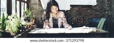 Businesswoman Beautiful Occupation Confident Concept - stock photo