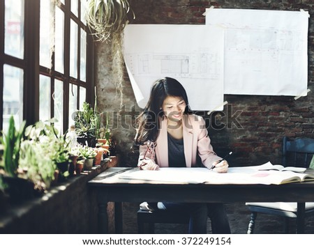 Businesswoman Beautiful Occupation Confident Concept - stock photo