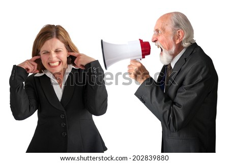businesswoman being yelled at by senior male manager on white - stock photo