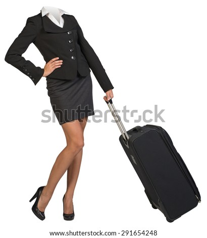 Businesswoman body without head standing with flight bag on isolated background