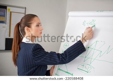 Businesswoman calculate profit in office, business person - stock photo