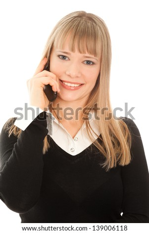 Businesswoman calling by phone isolated on white - stock photo