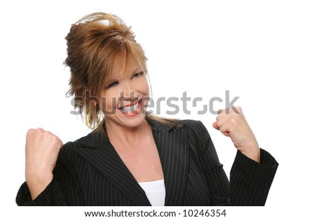 Businesswoman celebrating isolated on a white background