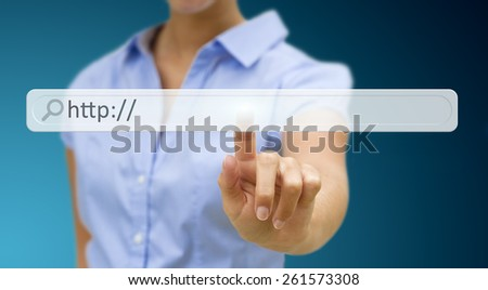 Businesswoman cliking on tactile interface web address bar�  - stock photo
