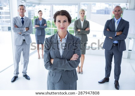 Businesswoman colleagues arm crossed in the office