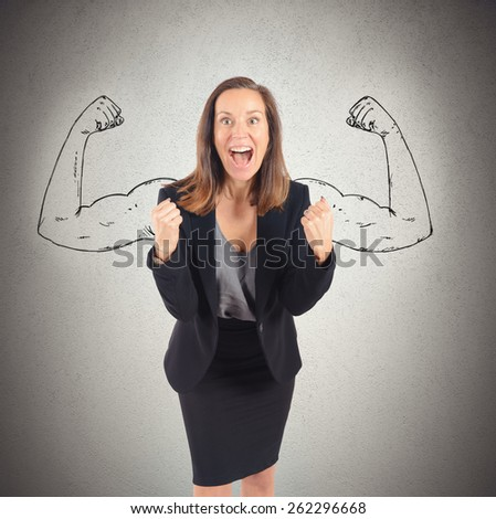 Businesswoman comes to success with inner strength - stock photo