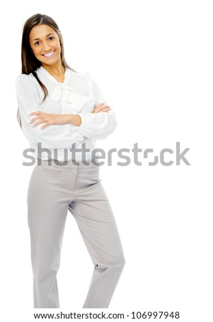Businesswoman confident portrait of a hispanic woman with arms crossed isolated on white background in studio. - stock photo