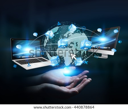 Businesswoman connected tech devices and icons applications to a digital planet earth '3D rendering'