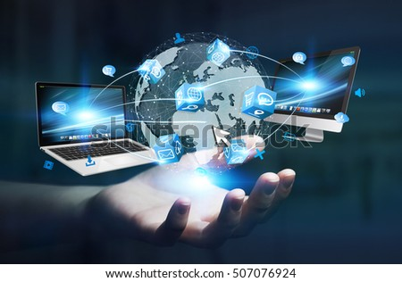 Businesswoman connected tech devices and icons applications to a digital planet earth 3D rendering
