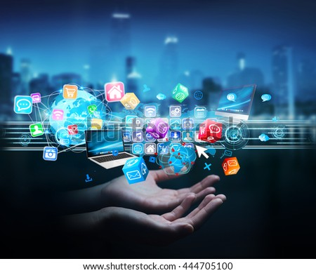 Businesswoman connecting icons applications to each others '3D rendering'
