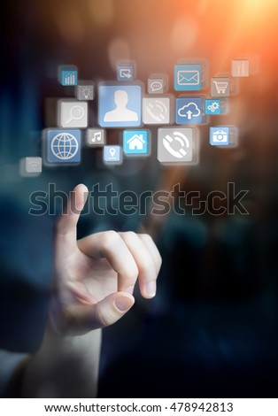 Businesswoman connecting icons applications to each others 3D rendering