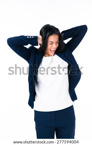 Businesswoman covering her ears and screaming isolated on a white background - stock photo