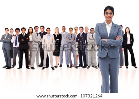 businesswoman crossing his arms against a white background - stock photo