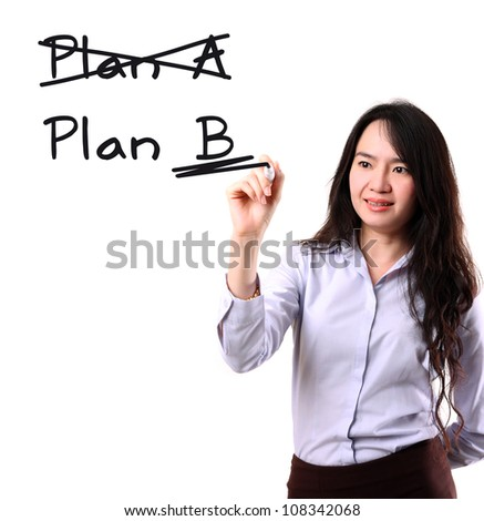 businesswoman crossing over Plan A, writing Plan B. by marker pen on copy space white seamless background - stock photo