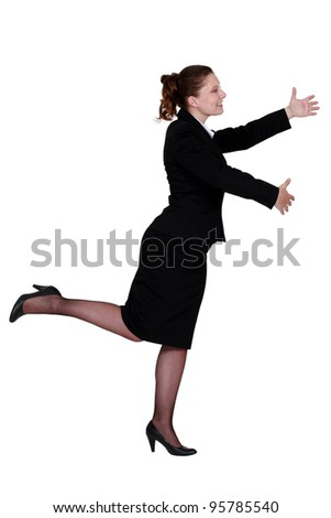 businesswoman dancing alone - stock photo