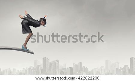 Businesswoman diver. Concept image - stock photo
