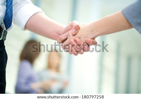 Businesswoman doing an agreement - stock photo