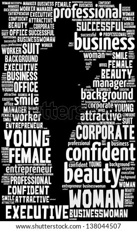 Businesswoman doing presentation info-text graphics and arrangement concept (word cloud)