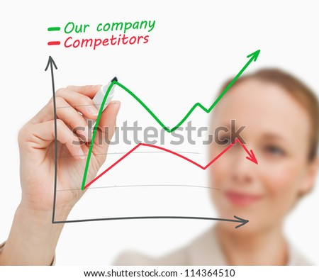 Businesswoman drawing a graph in green and red - stock photo