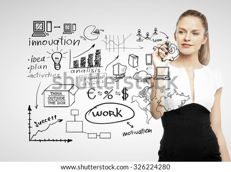 businesswoman drawing business concept on gray background - stock photo