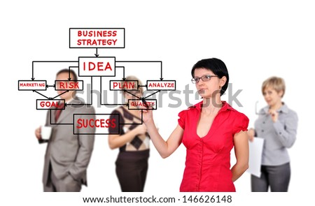 businesswoman drawing business strategy  and people on background - stock photo