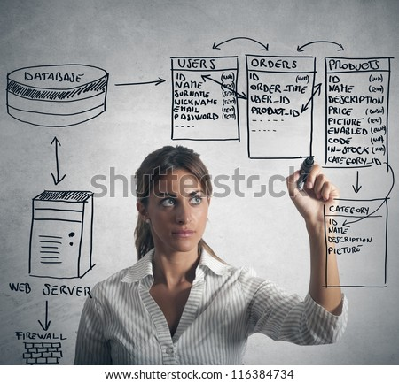 Businesswoman drawing database structure - stock photo