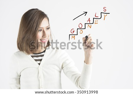 businesswoman drawing info graphs on transparent screen - stock photo
