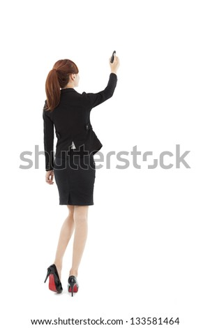 businesswoman drawing on the white background - stock photo