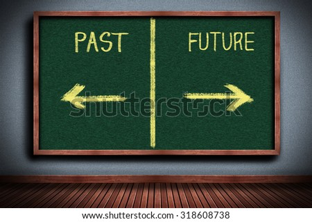 Businesswoman drawing past or future on chalkboard - stock photo