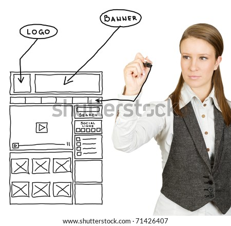 Businesswoman drawing web design sketch