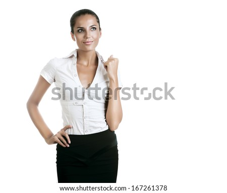 businesswoman dreaming about success on white background - stock photo
