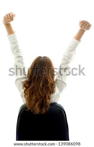 Businesswoman exercising. Office syndrome concept. - stock photo
