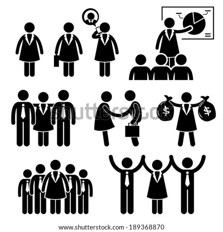 Businesswoman Female CEO Stick Figure Pictogram Icon Cliparts - stock photo