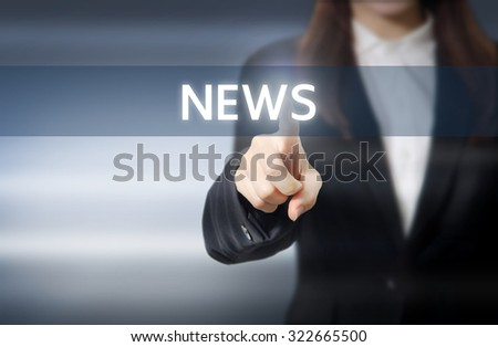 Businesswoman, Focus on hand pressing news button on virtual screens, business concept. - stock photo