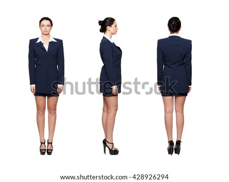 Businesswoman front, back, side view, isolated - stock photo