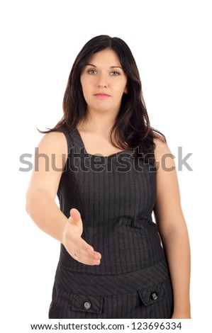 Businesswoman gives hand / Business Woman / Contract with a handshake - stock photo