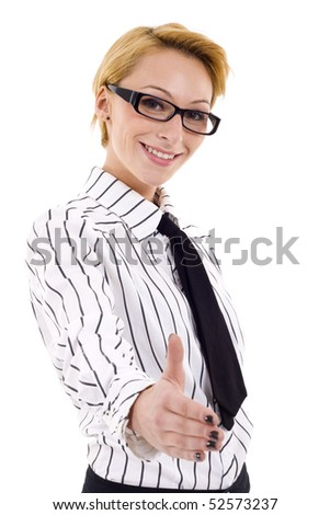 Businesswoman giving hand for handshake, isolated on white - stock photo