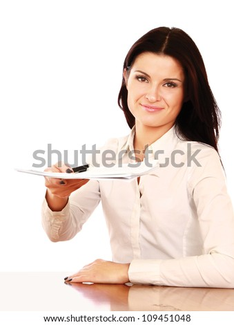 Businesswoman giving you the pen and the contract to sign (isolated on white) - stock photo