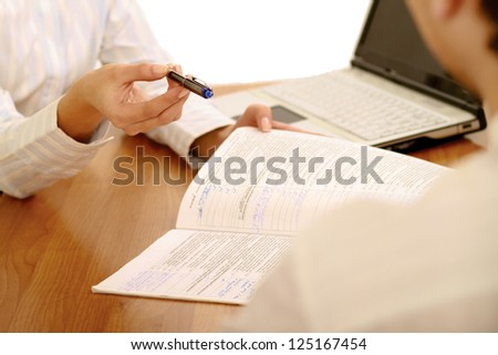 businesswoman giving you the pen and the contract to sign , isolated on white background - stock photo