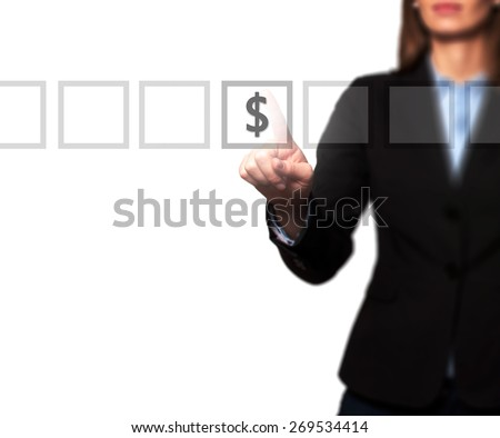 Businesswoman hand press dollar icon button on visual screen. Women finger on dollar icon. Isolated on white. Business, technology, internet concept. Stock Image - stock photo