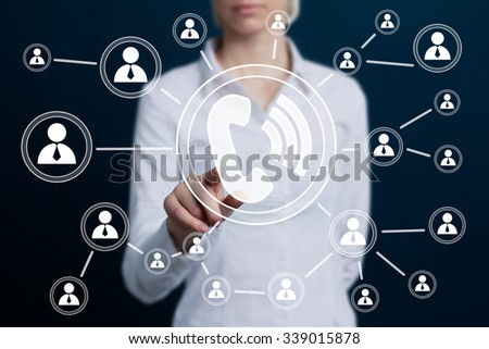 Businesswoman hand press telephone button sign. - stock photo