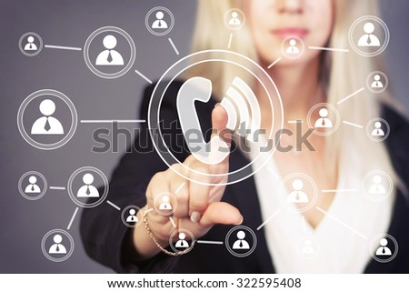Businesswoman hand press web telephone button sign - stock photo